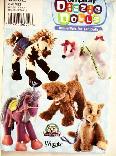 Simplicity Crafts Pattern 5682 ~ Dizzie Pets for 14 Dolls (Stuffed Horse, Dog and Cat)