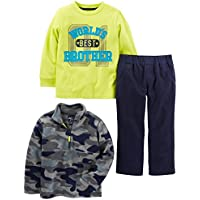 Simple Joys by Carter's Toddler Boys' 3-Piece Fleece Jacket, Long-Sleeve Shirt, and Woven Pant Playwear Set