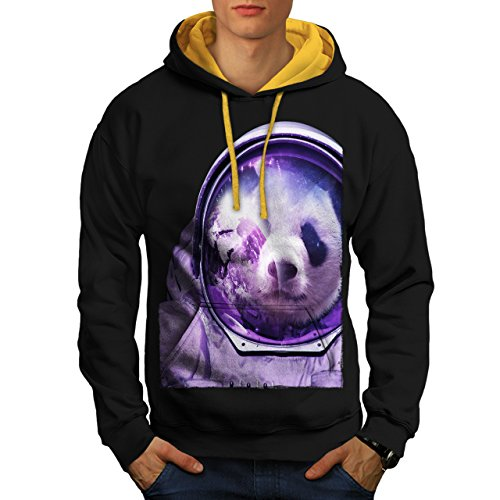 [Astronaut Panda Bear Spacefly Men M Contrast Hoodie | Wellcoda] (Bear Jew Costume)