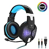 Kotion Each G1000 Gaming Headphones with Mic and RGB Changeable LED Lights (Black/Blue)