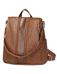 VASCHY Backpack Purse for Women, Fashion Faux Leather Anti-Theft Backpack for Ladies with Vintage Weave