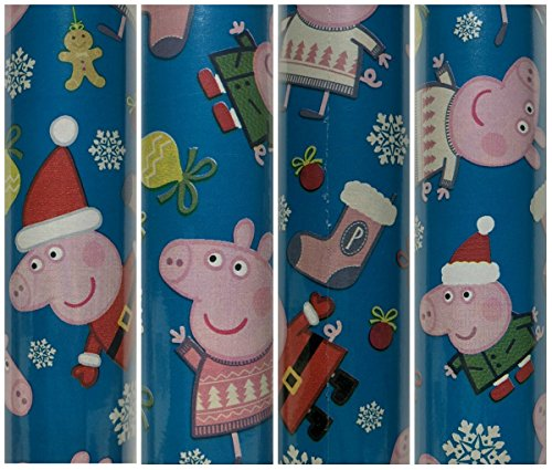 Pink and Blue Peppa Pig Christmas Gift Wrapping Paper 1 Roll Large 60 Sq Ft by PAW