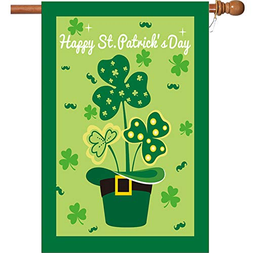 - W&X St Patrick's Day Flag,Shamrock/Hat St Patricks Flag 28 x 40 Inch Double-Sided Display with 2 Grommets Double Thickness House Flag for Garden and Home Decorations