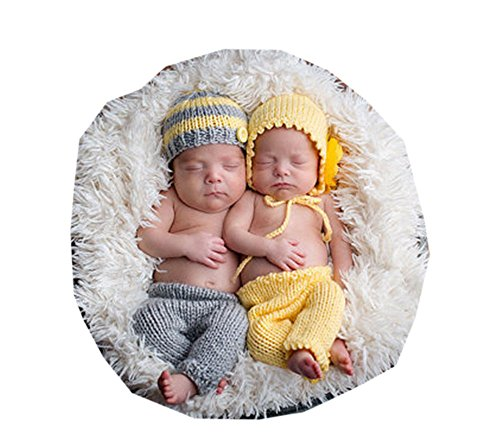 Pinbo Baby Twins Boys Girls Photography Prop Crochet Knitted Hat Pants (Twin Girl Costumes)