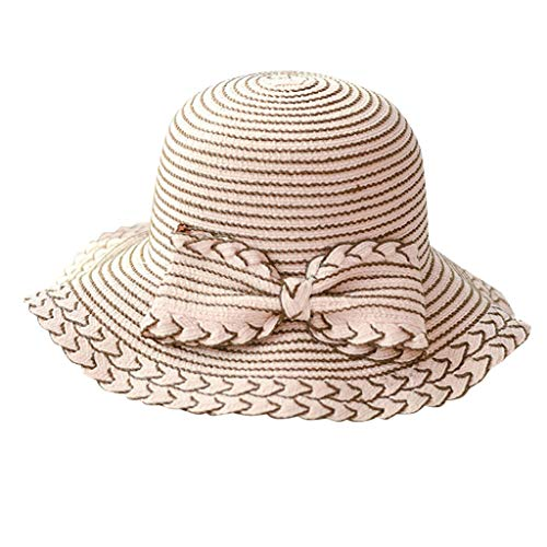 Hats Cap Ladies Women Wide Brimmed Floppy Foldable Bow-Knot Straw Summer Sun Beach Hat Pink