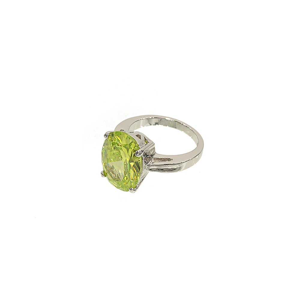 Glamour Rings Big Oval Single Stone Silvertone Fashion Ring in Bright Lemon Green Cubic Zirconia