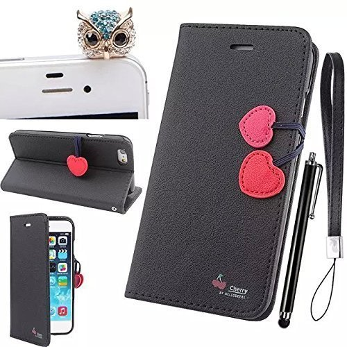 Galaxy S4 Case,Galaxy S4 I9500 Cover, Full-Body Premium PU Flip Cover, Screen Folio Leather Flip Wallet with Foldable Kickstand [with Diamond Owl Anti Dust Plug and Stylus 3 in 1 Set] for Galaxy S4 I9