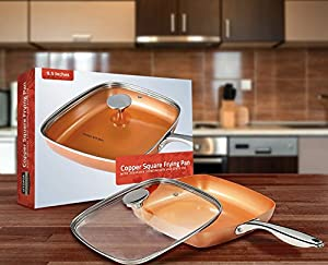 Induction Bottom 9.5 Inch Copper Square Frying Pan - Glass Lid - Utopia Kitchen