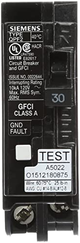 Siemens QF130A Ground Fault Circuit Interrupter, 30 Amp, 1 Pole, 120V, 10,000 AIC