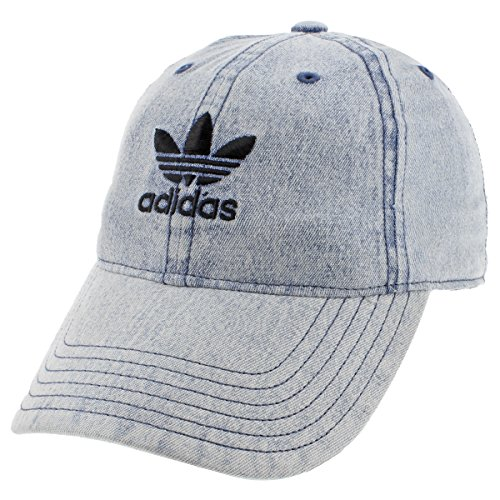 (adidas Men's Originals Relaxed Strapback Cap, Washed Blue Denim, One Size)