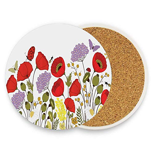 FunnyToiletLidCoverBB Wild Flowers Field Medley Poppy Chamomile Hydrangea Gypsophila Butterfly Lady Bugs Ceramic Coaster Absorbent Stone Coaster for Cold Mats Pack Of 1