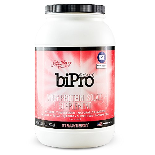 100% Whey Natural Strawberry - BiPro 100% Whey Protein Isolate, 2lb, Strawberry, All Natural, Sugar-Free, Lactose-Free, Gluten-Free, 90 Calories
