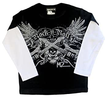 Micro Me Double Layer Shirt Rock n Roll   Black, 12 Months