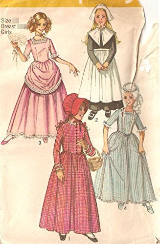 [Simplicity vintage sewing pattern 9136 girls' historical costumes: pilgirm, pioneer, colonial, Antibellum - Size] (60s Girl Costumes)