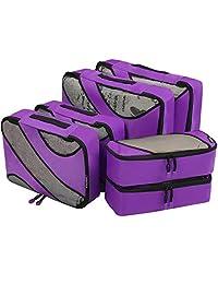 6 Set Packing Cubes,3 Various Sizes Travel Luggage Packing Organizers Purple