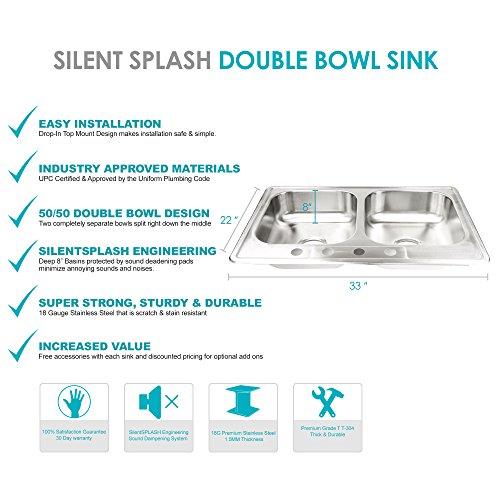 Stainless Steel Kitchen Sink Drop In 33 X 22 X 8 Top Mount Deep