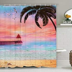 51IINcwsDRL._SS300_ 200+ Beach Shower Curtains and Nautical Shower Curtains