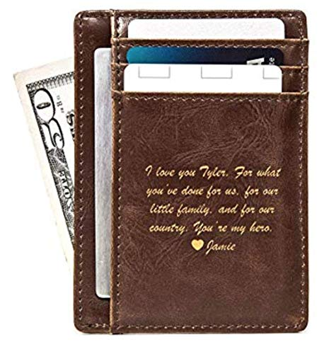 Swanky Badger Men's Slim Front Pocket Wallet, Leather Minimalist Thin Smart Cardholder Design, Brown, Message ()