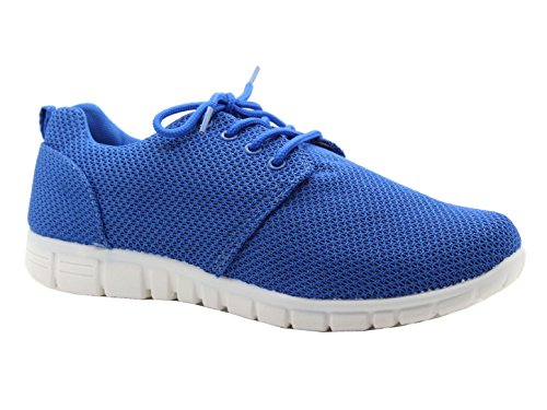 Womens Size Jogging Celebrity Running White Shoes Casual Lace Gym Fitness Trainers Running Ladies Sole Flat Sports Blue gwd6qtgv
