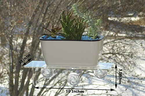 H4 Multi-Use Suction Cup Window Sill Shelf -Design an Indoor Garden, Ledge for Succulents, Flowers or Herbs. Other Solutions Include a Spice Rack or Bathroom Mirror Shelf. Plants/Planters NOT Included