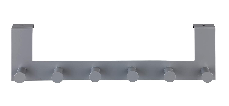 grau Hakenleiste mit 6 Haken Wenko T/ürgarderobe Celano f/ür T/ürfalzst/ärken bis 2 cm Stahl 39 x 11 x 7,5 cm