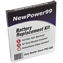 Battery Replacement Kit for Sony PRS-650 with Installation Video, Tools, and Extended Life Battery