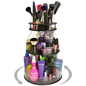 """New...Makeup & Cosmetic Organizer with 4 Tube Holders for Brushes Etc.That Spins for Easy Access to all your Beauty Essentials, NO More Clutter! Give Yourself a Neat, Clean Countertop in Only 12"""" of Space. ...Proudly Made in the USA! by PPM."""