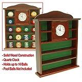 Trademark Global Ball Holder Quartz Clock with Solid Wood Billiard Ball, Brown
