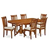 Cheap East West Furniture NAPO7-SBR-C 7-Piece Dining Table Set
