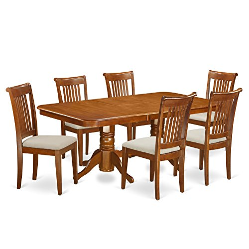 East West Furniture NAPO7-SBR-C 7-Piece Dining Table (Double Pedestal Butterfly Leaf Table)