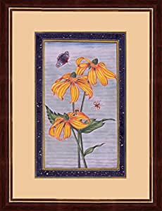 Splendid Indian Art Mughal periodo flor 'equinácea alto (laciniata rudbeckia)' pintura miniatura india en el papel hecho a mano de edad con los colores de piedra natural y de oro