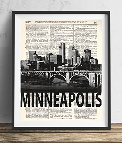 Minneapolis Skyline With Bold Name Dictionary Art Print 8x10