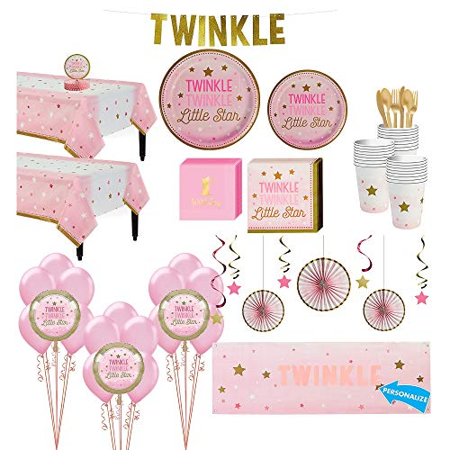 Party City Pink Twinkle Twinkle Deluxe 32 Count Tableware Kit, Includes 2 Table Covers, Balloons and Banners