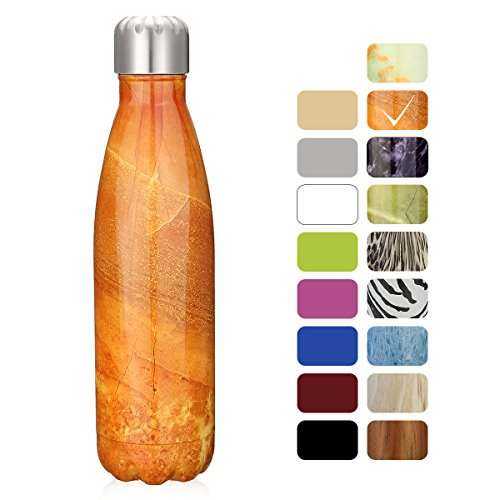 king do way 17oz Double Wall Vacuum Insulated Stainless Steel Water Bottle Perfect for Outdoor Sports Camping Hiking Cycling Agate Yellow
