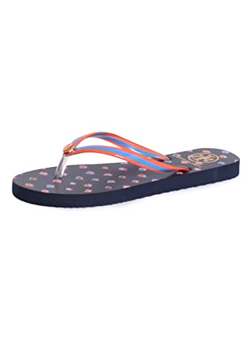9c76cd85ab1eb Amazon.com | Tory Burch Thin Printed Flipflop in Tory Navy Mini ...
