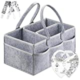 Baby : Putska Diaper Caddy Organizer Set: Portable Wipes Holder Bag for Changing Table and Car, Baby Nursery Essentials Storage Basket kit with 2 Pacifier Clips, 2 Bibs