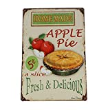 """Home Made Apple Pie Metal Tin Sign, Wall Decorative Sign, Size 8"""" X 12"""""""