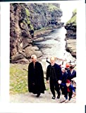 Vintage photo of Queen Margrethe during a visit to Gjogv in the Denmark-related Faroe Islands.