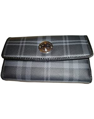 Women's Tommy Hilfiger Continental Checkbook Wallet (Black/Gray Plaid) (NEW)