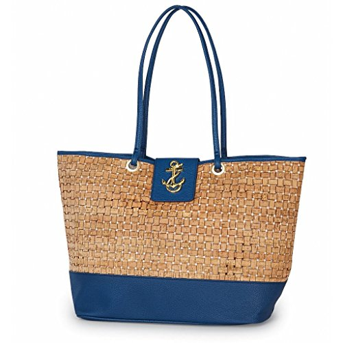 (Mud Pie 8613305N Basket-Weave Cork Tote Bag Anchor Icon Nautical Navy)