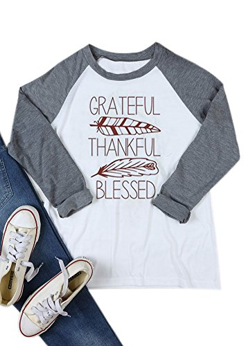 Block Printed Cotton Top - Thanksgiving Women Printed Cotton Blouse Longsleeve Color Block Casual Knits Patterned T Shirt Tops Blessed M