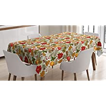 Christmas Tablecloth by Ambesonne, Vivid Colorful Xmas Theme Pine Cones Branches Gingerbread Man Holy Berry Print, Dining Room Kitchen Rectangular Table Cover, 60 W X 84 L Inches, Multicolor