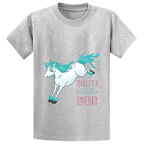 Chas Today Im A Freaking Unicorn Kid's Crew Neck Graphic Tees Grey