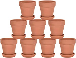 Riseuvo 3 Inch Terra Cotta Pots with Saucer - 9 Pack Clay Flower Pots with Drainage, Great for Plants, Crafts, Wedding Favor (3 Inch)