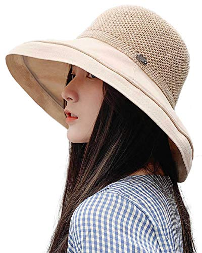Women's Wide Brim SPF 50 Summer Sun Hat Packable Linen/Cotton Bucket Hat Holiday Beach Chin Cord ()