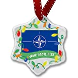 Personalized Name Christmas Ornament, NATO (North Atlantic Treaty Organization) Flag NEONBLOND