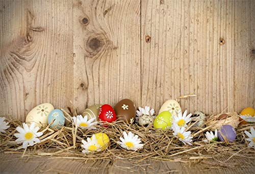 Leyiyi 7x5ft Photography Background Happy Easter Day Backdrop Colored Eggs Spring Holiday Vintage Wooden Board Rustic Barn Hay Bird Nest Lily Revive Jesus Christ Photo Portrait Vinyl Studio Prop
