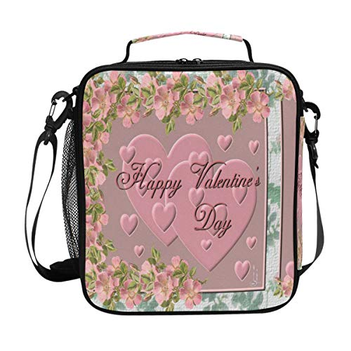Great Valentine's Day Lunch Bag Womens Insulated Lunch Tote Containers Zipper Square Lunch Box for Kids Men Adults Boys Girls]()