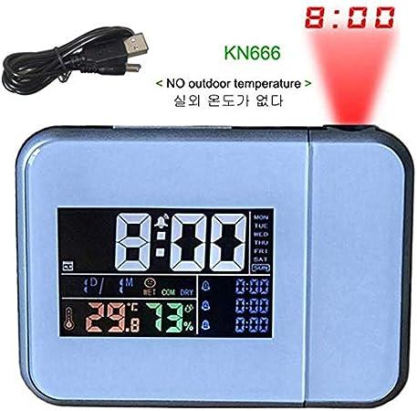 AIYASIWEI Multifuncional Ajustable Proyección de Alarma Digital de ...