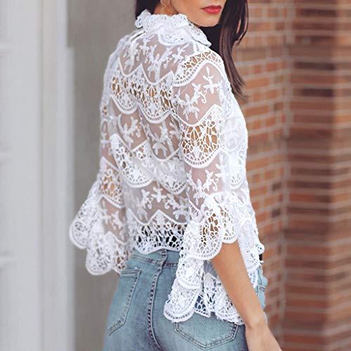TIREOW Damen Langarm Sexy Lace Bodycon Cocktailparty Bluse Hemden Top